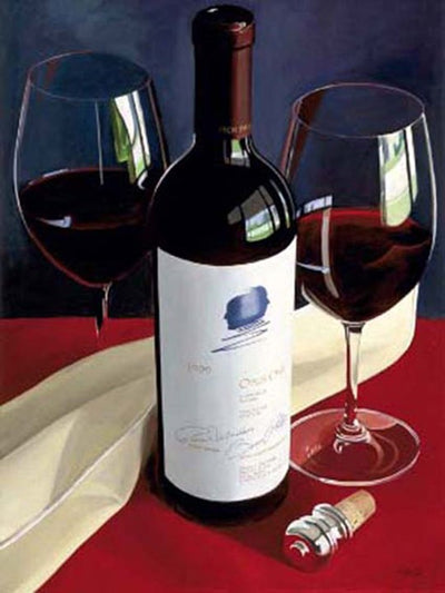 Opus One wine bottle, pair with 2 wine glasses.- Opus One by Thomas Stitlz
