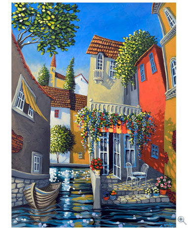 The Flowershop welcome visitors by boat or simply by strolling through the village pathways leading to shop. Each painting tells a story, drawing you closer.