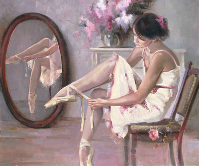 En Pointe - A ballerina getting ready for her performance by Irene Sheri