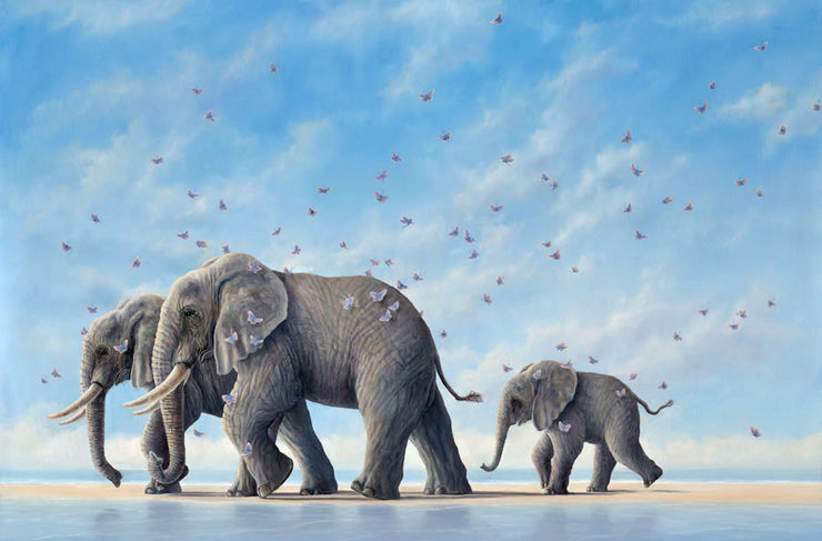 Voyagers By Robert Bissell - An elephant family, with the adult elephant walking side by side and the baby elephant happily trailing slightly behind in their footsteps