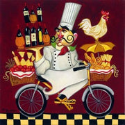 Tim's Cuisine Series, the whimsical Chef on a bicycle doing a balancing act.