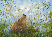 Whole World By Robert Bissell -Brown bear flowing in the water.