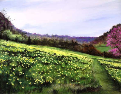 Country hillside covered with spring flowers.- Spring Dreams By Jill Tishman