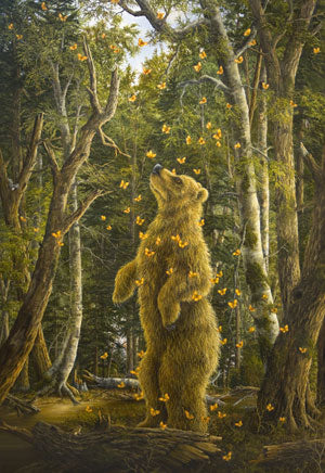 Golden Bear By Robert Bissell - The bear is surrounded by butterflies, as he stands upright in the middle of the forest.
