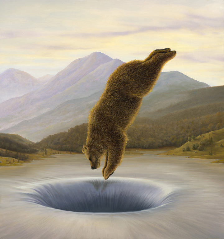 Diver By Robert Bissell - Brown bear diving into a hole in the middle of the lake.