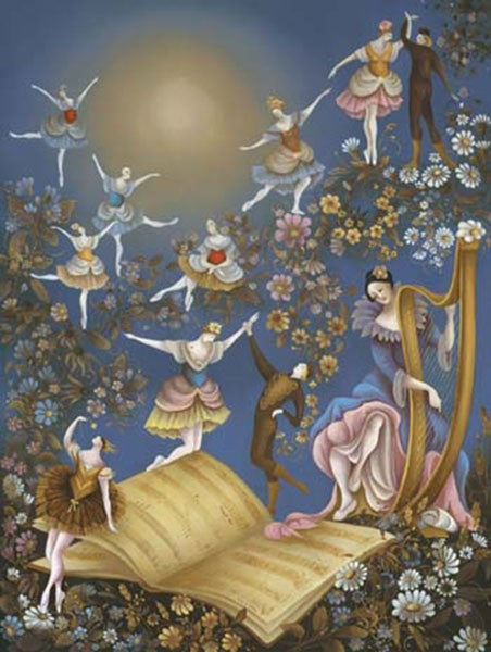 Ballerina's floating and dancing as they follow the music notes in the book.