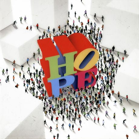 "Miniature images of people gathering around the colorful block letters spelling the word ""HOPE""."