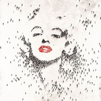Miniature images of people forming a Marilyn Monroe facial form.