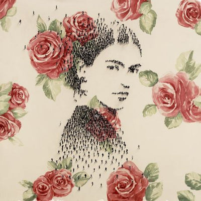 Miniature images of people forming a portrait of Frida Kahlo, with reddish wallpaper of roses.