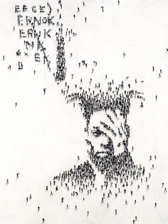 Miniature images of people forming a man's head with his hand on his face.