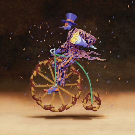 Man appears to be riding a vintage surreal velocipede bike with wheels made of shoes, holding a bouquet of flowers.