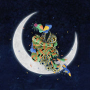A surrealist couple sitting on a crescent shape moon kissing.