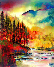 Rich in colors this painting displays of a redwoods lining the river bank, as the morning fog cascades down through mountains, into the valley.