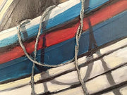 Rope hanging over the boat - closeup