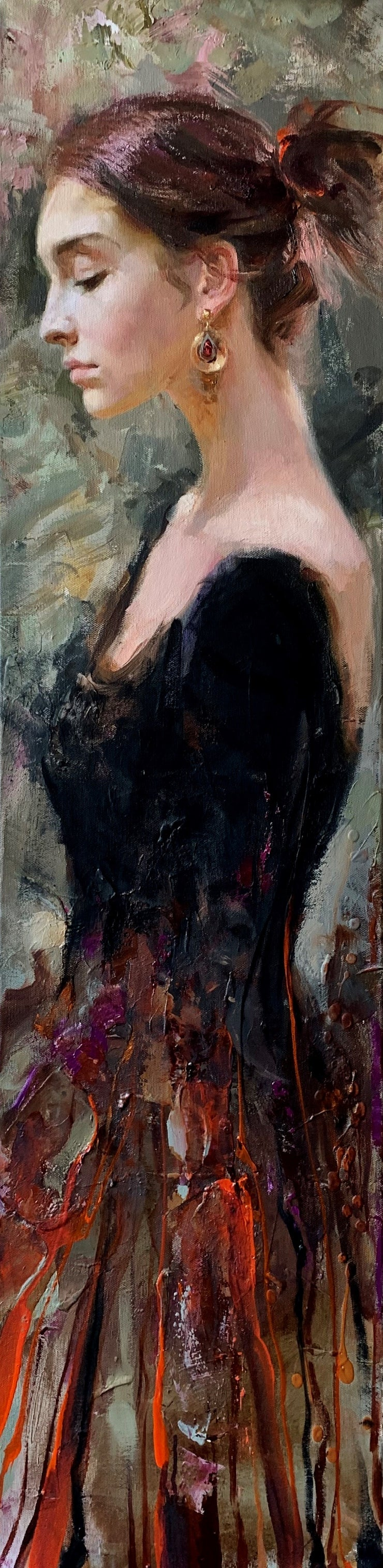 Catalina - Gamma Series by Irene Sheri.   Romantic Impressionist - Catalina's side profile. Her hair pulled back, she wearing a black top with a orange red and brown mixed of colors.