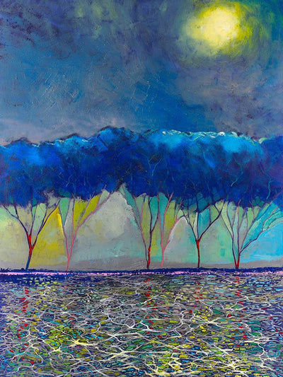 Grove of blue leave trees under the moonlight