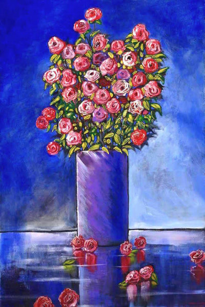 Purple vase with bouquet of pink flowers with a blue background