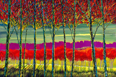 Mosaic trees grove in reds and yellows