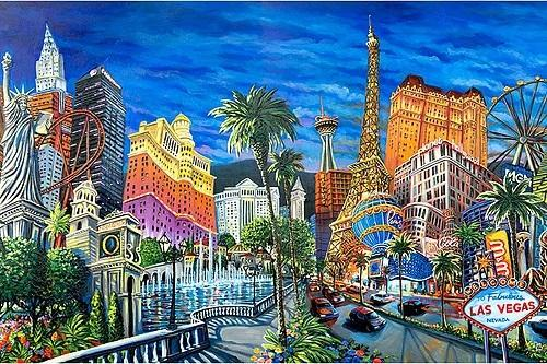The best of Las Vegas, it's icons - the Welcome Sign, Eiffel Tower, Fountains of Bellagio, Stratosphere Tower.