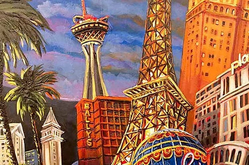 The best of Las Vegas, it's icons - the Welcome Sign, Eiffel Tower, Fountains of Bellagio, Stratosphere Tower. Closeup 2