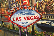 The best of Las Vegas, it's icons - the Welcome Sign, Eiffel Tower, Fountains of Bellagio, Stratosphere Tower. Closeup 4