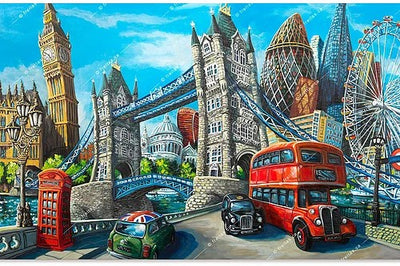 Miguel represents the whimsical art of London's iconic 19th-century landmarks and more.