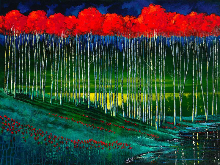 Grove of red topped tree in an aqua evening landscape