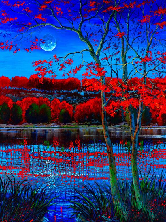 beautiful blue sky and moon reflect the red topped tree into the waters edge