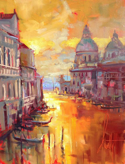 The sundown's warm-colored skies create a calmness, at the end of the day. The gondolas are docked and all is calm.