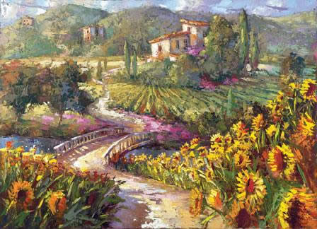 A sunflower path leads down to the tuscany villa, surrounded by vineyards.