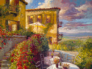 A Tuscan setting, with villas, outdoors dining and a view of the Tuscan vineyards.