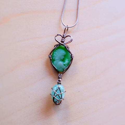 Fiber Optic Cameo with Aquamarine Drop Necklace