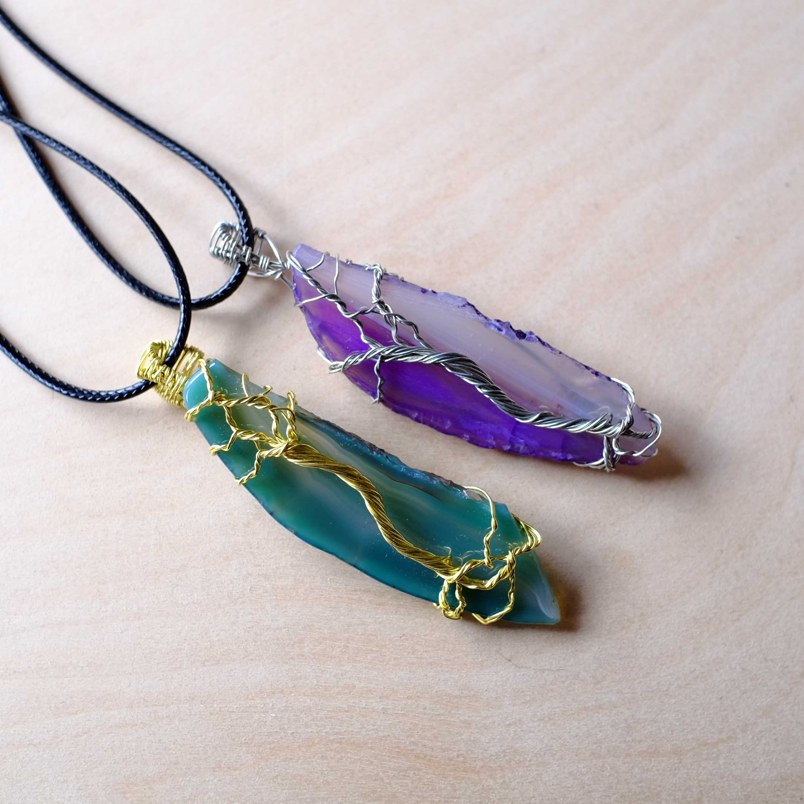 Tree of Life Agate Necklace Pair