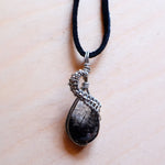 grey wolf white owl, tourmalinated quartz necklace, tourmaline, quartz