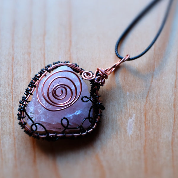 Raw Rose Quartz Wirewrap Pendant - Grey Wolf | White Owl