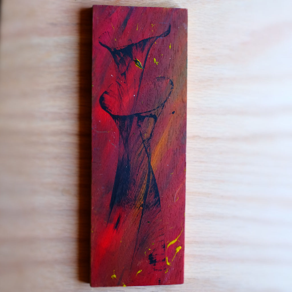 Red abstract painting on wood - Grey Wolf | White Owl