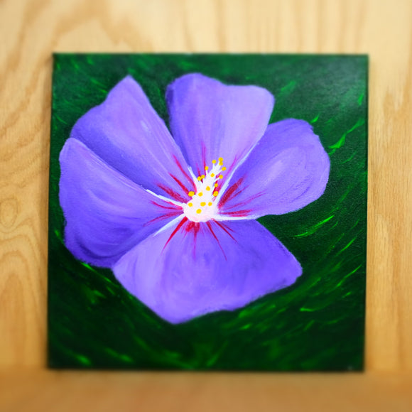 Purple hibiscus painting - Grey Wolf | White Owl