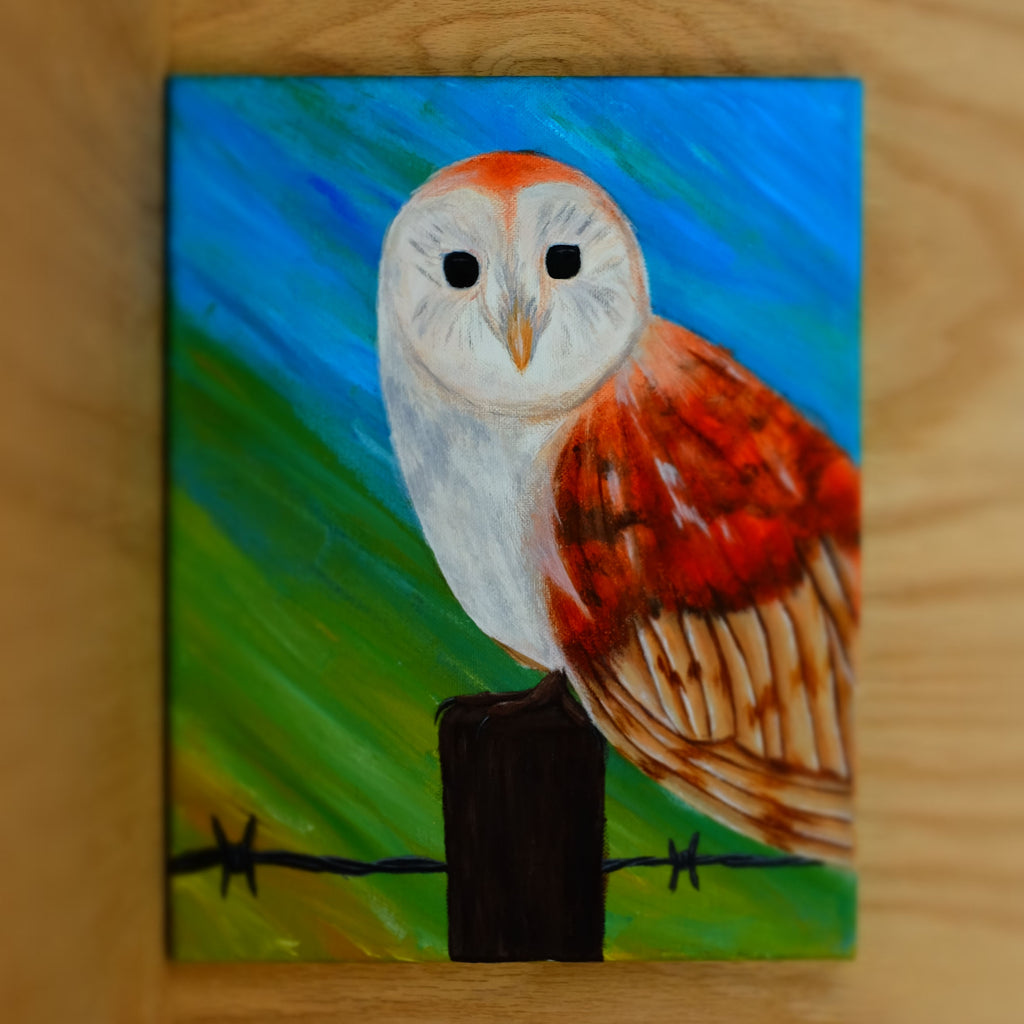 The Barn Owl painting - Grey Wolf | White Owl