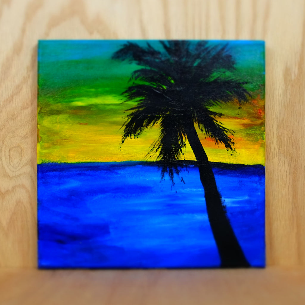 Palm Tree at Sunset Original Painting - Grey Wolf | White Owl
