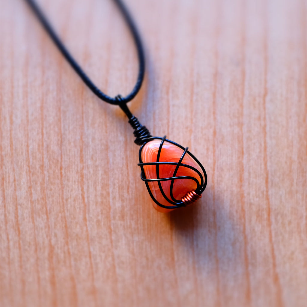 Black and Orange Carnelian Necklace - Grey Wolf | White Owl