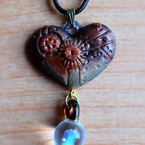 Steampunk Heart Opal Necklace - Grey Wolf | White Owl