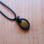 Angelite Gemstone Necklace - Grey Wolf | White Owl