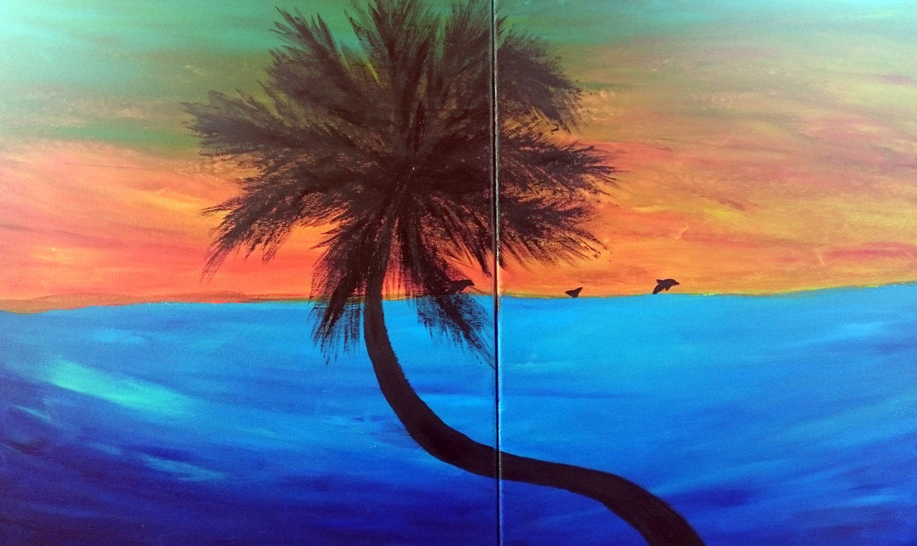 Palm tree and dolphins at sunset painting - Grey Wolf | White Owl
