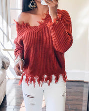 Distressed women's V neck Pullover sweater