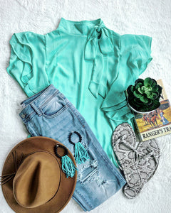 Mock Neck Mint Blouse