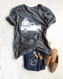 The Pumpkin Truck V neck T-shirt