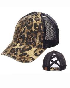 CC Leopard Ponytail Baseball Hat with Criss Cross Back