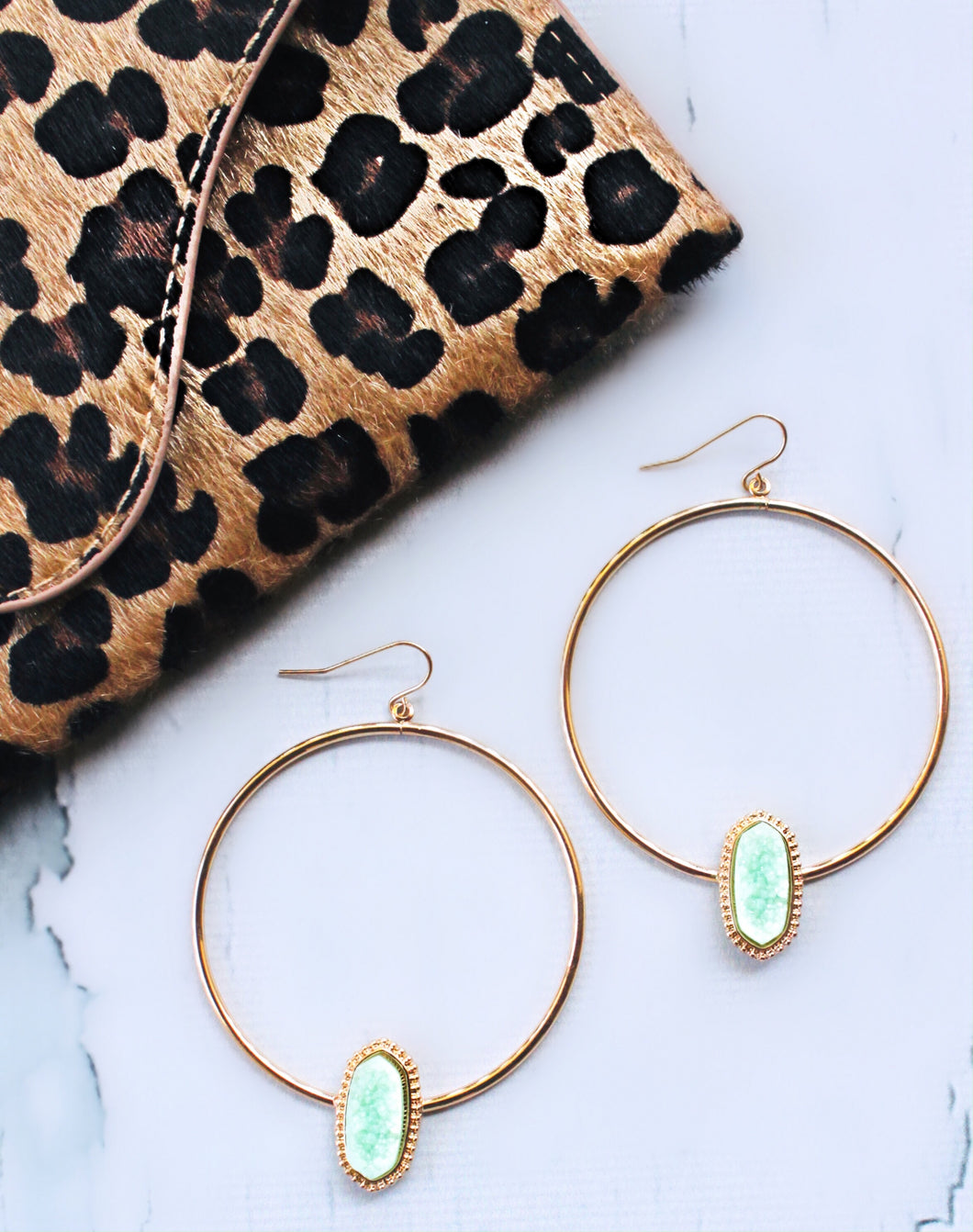 Mint and Gold Hoops