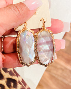 Gold and Iridescent Gray Earrings
