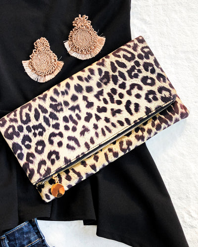 Leopard print Suede Clutch Bag